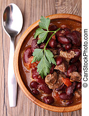 chili con carne - bowl of chili con carne