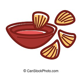Bowl of chili sause with crispy nachos isolated illustration