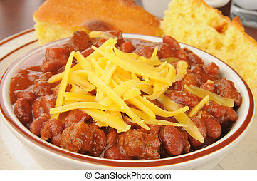 Bowl of chili with cheese