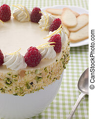 Bowl of Chilled Lemon Souffle with Biscuits