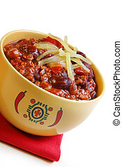 Bowl of Chilli - A bowl of chilli with beans, topped with...