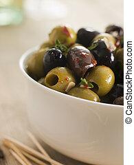 Bowl of Chilli and Garlic Marinated Olives