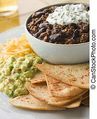 Bowl of Chilli with Tortilla Chips
