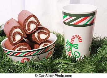 Bowl of chocolate cake with Christmas decoration