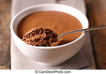 bowl of chocolate mousse