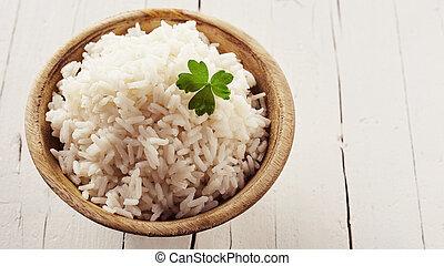 Bowl of cooked par-boiled long grain rice