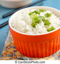 Bowl of cooked rice with green onion