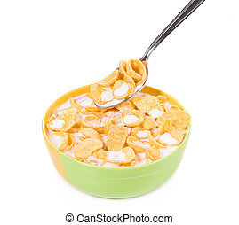 Bowl of corn flakes isolated on white.