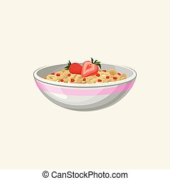 Bowl of corn flakes rings with milk and strawberry. Delicious food. Appetizing breakfast. Fast food. Good morning concept. Cartoon flat vector illustration