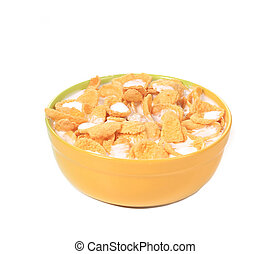 Bowl of corn flakes with milk isolated on white