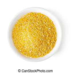 Bowl of corn grits on white background, top view