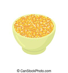 Bowl of corn gruel isolated. Healthy food for breakfast. Vector illustration