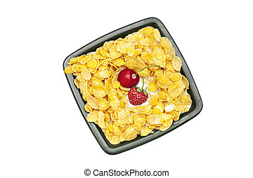 bowl of cornflakes milk cherry and strawberry isolated on white