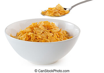 bowl of cornflakes with a spoon on white background