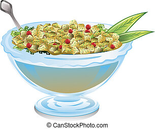 Bowl of cranberry stuffing - illustration of a bowl of...