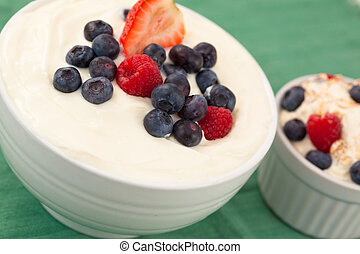 Bowl of cream of fruits