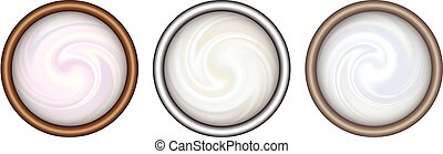 Bowl of cream on white background, top view.