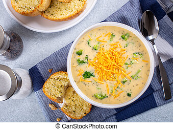 Bowl of Creamy Broccoli Cheddar Cheese Soup