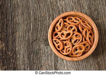 Bowl of crunchy pretzels