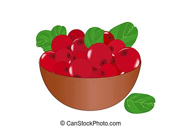 Bowl of delicious juicy lingonberry isolated on white ...