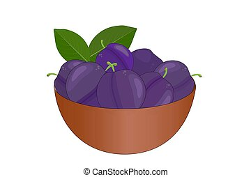 Bowl of delicious juicy plums isolated on white background...