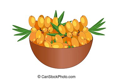 Bowl of delicious juicy sea buckthorn isolated on white ...
