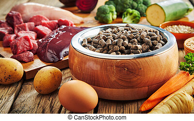 Bowl of dried pet kibble with fresh ingredients