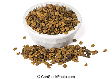 Bowl of dry cat food overflowing