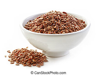 bowl of flax seeds isolated on white background
