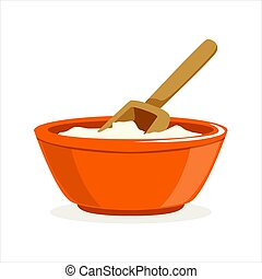 Bowl of flour with a wooden scoop baking Ingredient vector Illustration