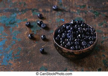 Bowl of forest blueberries