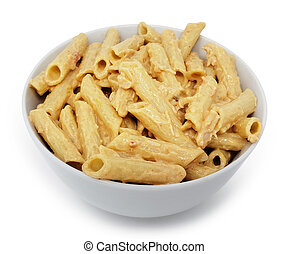 Four Cheese Sauce on Penne Pasta with Clipping Path