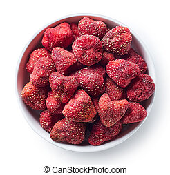 Bowl of freeze dried strawberries isolated on white...