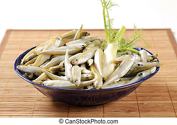 Bowl of fresh anchovies