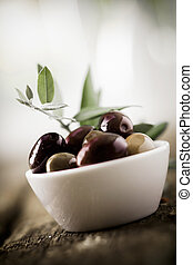 Bowl of fresh black olives