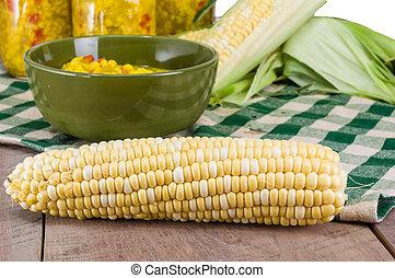 Bowl of fresh corn relish with corn