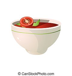 Bowl of fresh, eco, hot tomato soup, vegan dish