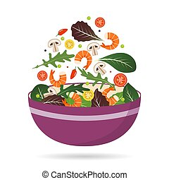 Bowl of fresh mix of salad leaves, vegetables and shrimp. Arugula, tomatoes, paprika, peppers and mushrooms. Vector illustration.