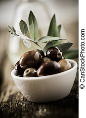 Bowl of fresh organic olives