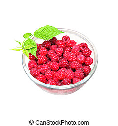 Bowl of fresh raspberry isolated on white background