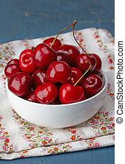 Bowl of fresh red cherries