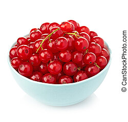 Bowl of fresh red currants on white background