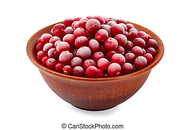 Bowl of frozen cranberries on white