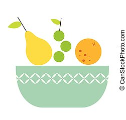 Bowl of fruit flat illustration