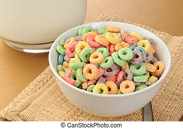 Bowl of fruit flavored cereal