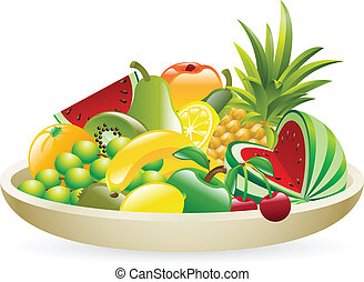 Bowl of fruit illustration