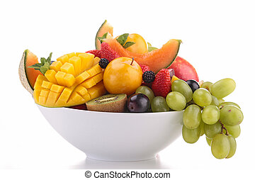 bowl of fruits isolated on white