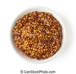 Bowl of full wholegrain mustard