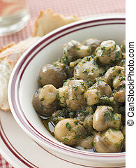 Bowl of Garlic Mushrooms with Rustic Bread