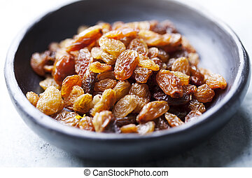 raisins - bowl of golden sun-dried raisins